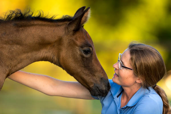 Gabi Neurohr in contact with her foal Maserati